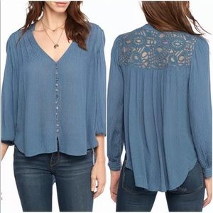 Free People Embroidered Hi-Low Button-Down Top